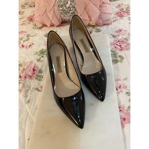 Zara Basic- Black Patent Flared Block Heel Pumps
